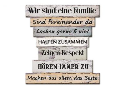 Wandbild Familienregeln aus Holz, B30 x T32 cm