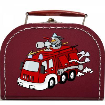 Pappkoffer mit Lustiger Feuerwehr - Geschenkverpackung - Kindergeschenk