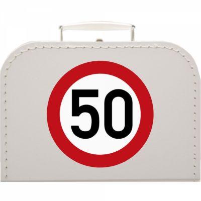 Pappkoffer zum 50. Geburtstag - Verkehrsschild - Geschenkverpackung
