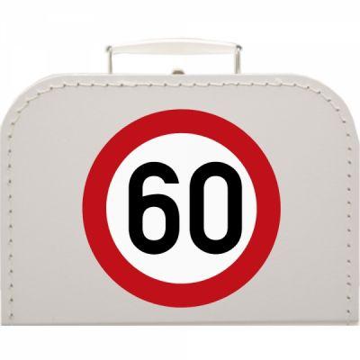 Pappkoffer zum 60. Geburtstag - Verkehrsschild - Geschenkverpackung