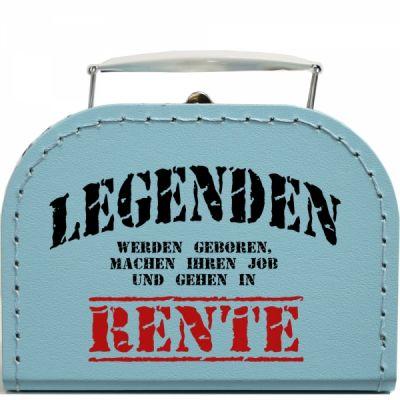 Pappkoffer zur Rente - Legenden in Türkis-Blau
