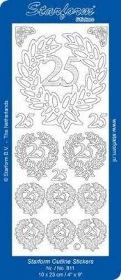 Sticker Motivsticker Jubiläum 25 - silber