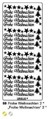 Sticker - Konturensticker - Frohe Weihnachten, Sterne und Bäume in Silber
