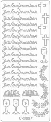Sticker - Konturensticker - Schriftzug -Zur Konfirmation und Kreuz, Kelch usw. in Silber