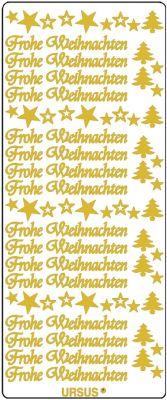 Sticker - Konturensticker - Frohe Weihnachten, Sterne und Bäume in Gold