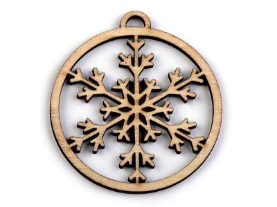 Weihnachtskugel - Lasercut Holz - mit Schneeflocke - 6 Stück