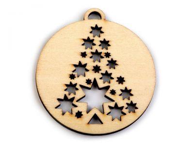 Weihnachtskugel - Lasercut Holz - mit Baum - 6 Stück