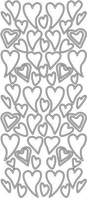 Sticker - Konturensticker - verschiedene Herzen in silber