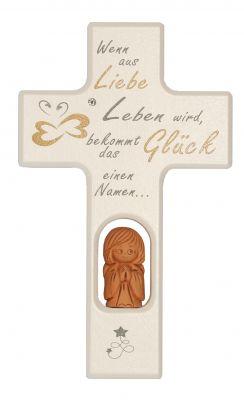 Kinderkreuz aus Holz mit Tonengel und Steinchen