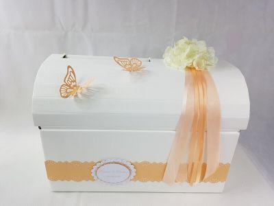 Briefbox - Geschenktruhe mit Hortensie zur Hochzeit - Apricot