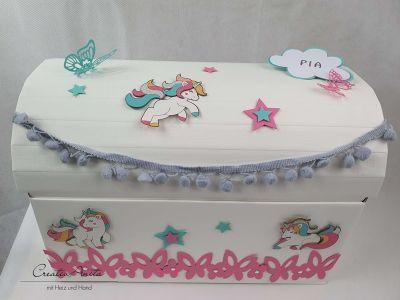 Erinnerungsbox Schatztruhe Truhe EINHORN, 1. Geburtstag, Schulanfang, Geburtstagsgeschenk, Geschenkbox -personalisiert-