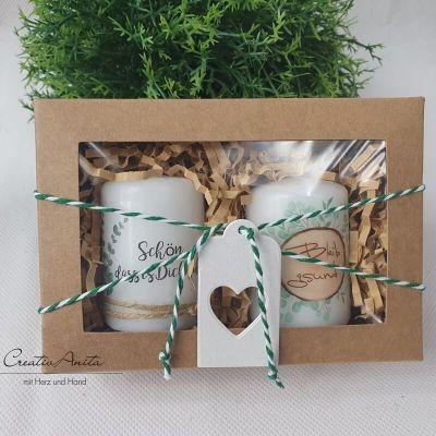 Geschenkbox mit handverziertem Kerzenset - Geschenk für Nachbarn - Freunde