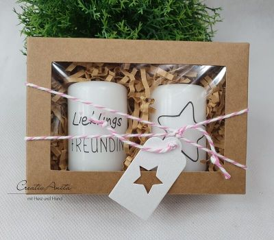 Geschenkbox mit handverziertem Kerzen-Set - Geschenk für beste Freundin - Kerzenset