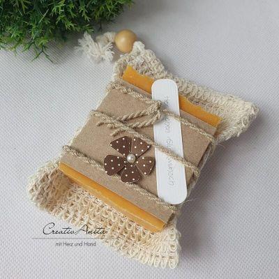 Geschenkpackerl Seifenbeutel mit handgeschöpfter Schafmilchseife PFIRSICH - Geburtstagsgeschenk