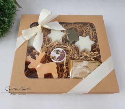 Geschenkbox ZIRBE Hirsch mit hochwertiger Schafmilchkosmetik - pflegendes Geschenkset