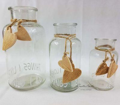 3 St. Glasflaschen - Dekoflaschen -I LOVE THINGS I LIKE-