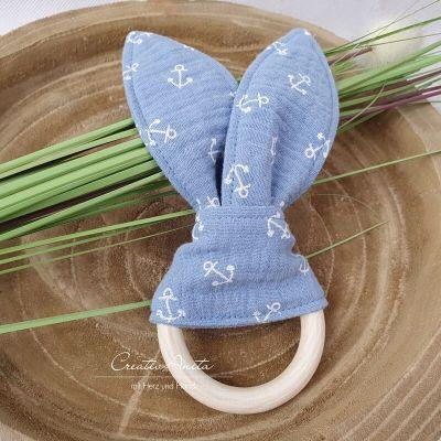 Baby Greifling - Schnuffeltuch - Musselintuch - Hellblau mit Anker
