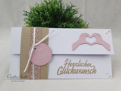 Gutscheinkarte zur Hochzeit - Weiß-Natur-Altrosa mit Spitzenband - Hand bestempelt