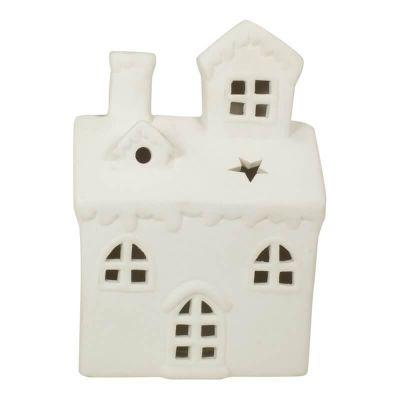 Keramik-Haus in Weiß - Teelichthalter