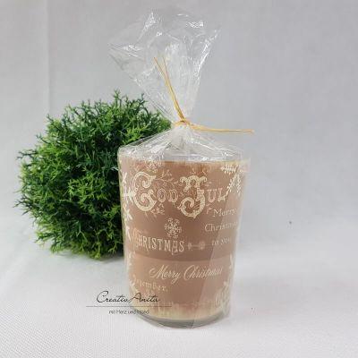 Kerze im Glas - Vintage Deer - Weihnachten - Taupe