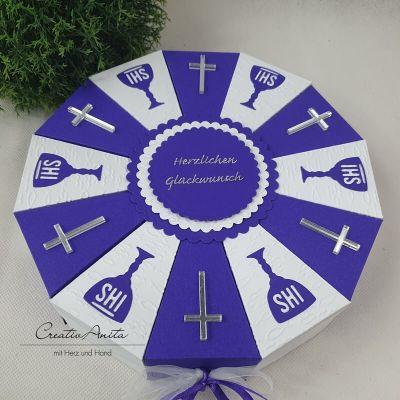 Schachteltorte - Geschenk in Lila-Weiß - christlich - EINZELSTÜCK