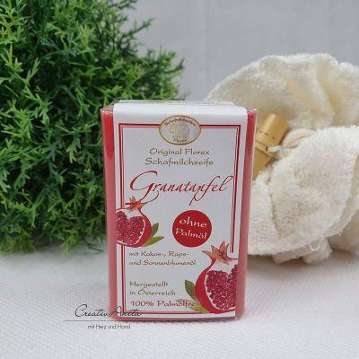 Schafmilchseife Palmölfrei Granatapfel - Florex, eckig 100g