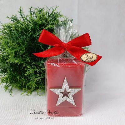 Weihnachtsgeschenk - 1 Stück Schafmilchseife ROSE weihnachtlich dekoriert mit Stern