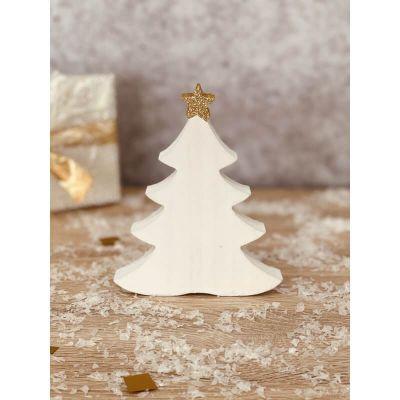 Tannenbaum aus Holz in weiß mit Stern - Glitter