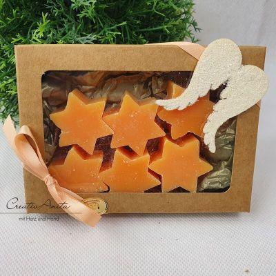 Geschenkset mit Seifensterne Schafmilchseife Mini ORANGE