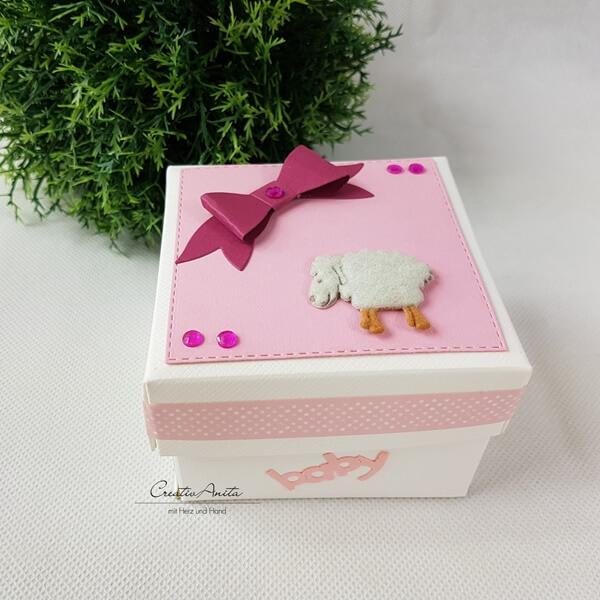 Geschenkschachtel Zur Geburttaufe Geldgeschenk Rosa Beere