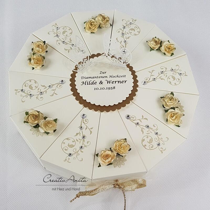 Schachteltorte Goldene Hochzeit Geldgeschenkidee Im Vintagestil