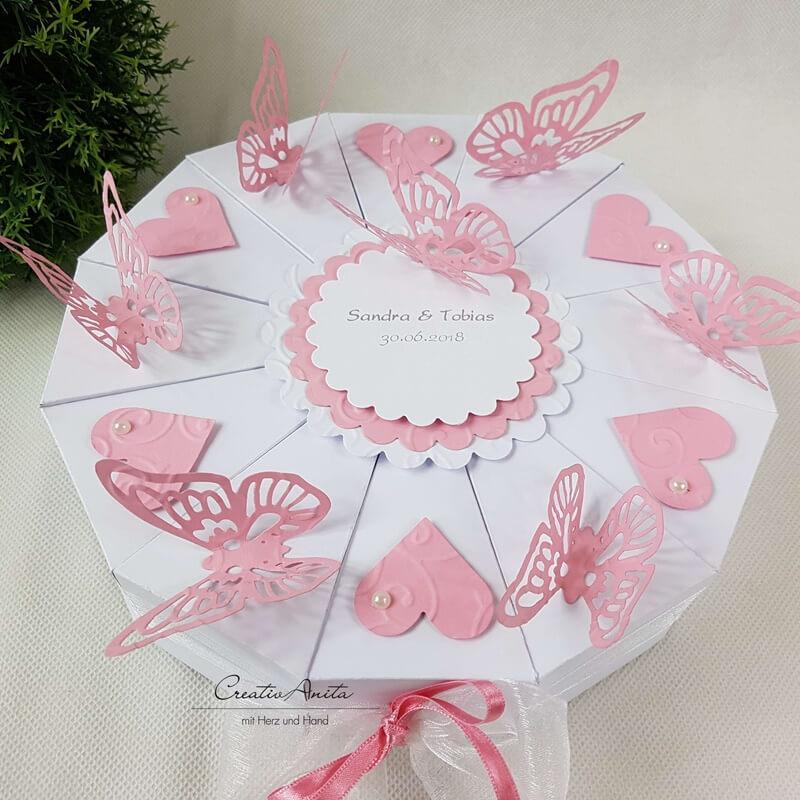 Schachteltorte Schmetterlinge Herzen Hochzeit Geldgeschenk