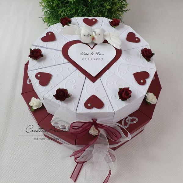 Geldgeschenk Hochzeitsgeschenk Schachteltorte DUNKELROSA-WEISS m Geschenkidee Hochzeit Herzen /& Rosen
